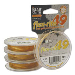 Flex-Rite Stainless Steel Bead Wire - 49 Strand - 24K Gold