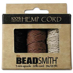 Hemp Cord - 3 Mini Spools - Natural Colors