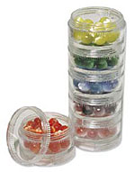 Bead Storage - Plastic Jars - 6-Set