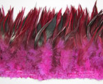 Dyed Strung Rooster Saddle Hackles - Dark Fuchshia