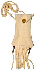Fringed Buckskin Strike-A-Light Bag - Imitation Braintan