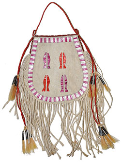 Porcupine Quilled Horseshoe Bag - White & Purple - Honza Podzemny