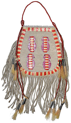 Porcupine Quilled Horseshoe Bag - Yellow & Red - Honza Podzemny