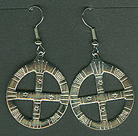 Pewter Quilled Wheel Earrings